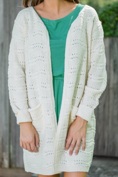 Double Pockets Hollow Out White Longline Cardigan