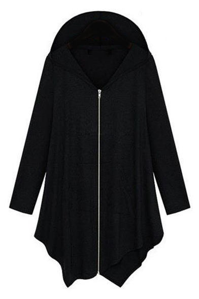 Hooded Asymmetrical Hem Plain Zipper Long Loose Coat