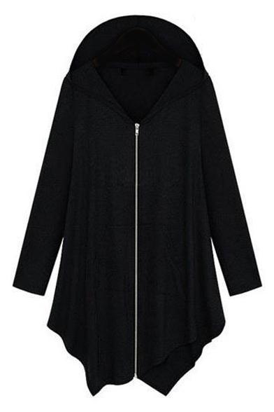 Hooded Asymmetrical Hem Plain Zipper Long Loose Coat
