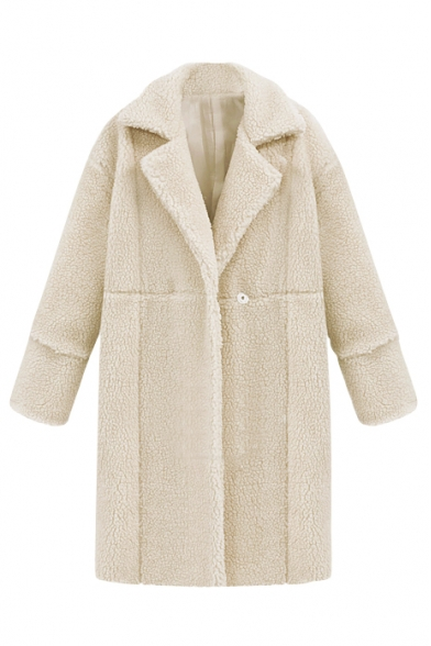Notched Lapel Plain Double Breasted Long Wool Coat