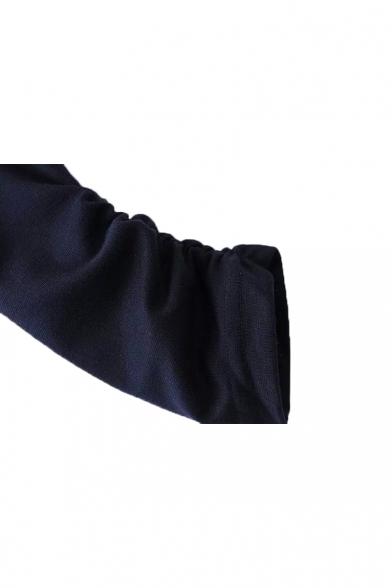 Plain Round Neck Pleated Sleeve Asymmetrical Hem Midi Dress