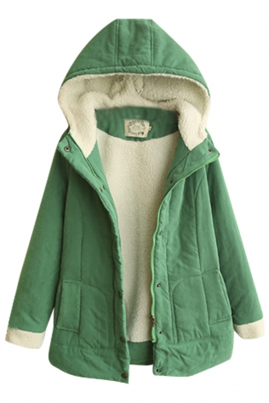 Plain Single Breasted Wool Lining Padded Hooded Coat