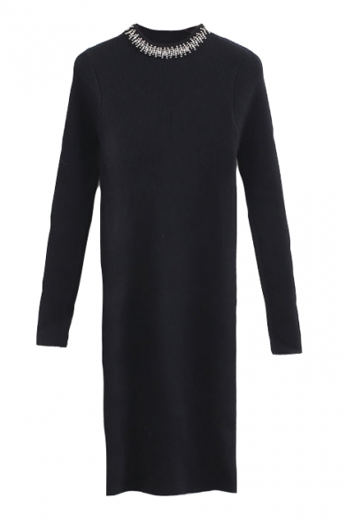 Round Neck Beading Plain Long Sleeve Bodycon Knit Midi Dress