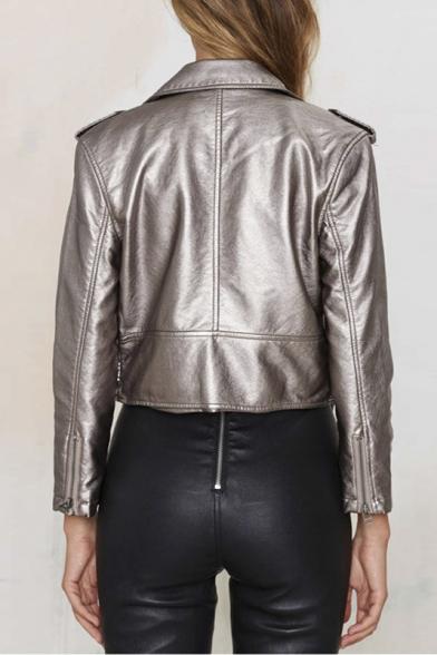 Silver Notched Lapel Plain Belt Detail Cropped Biker Jacket