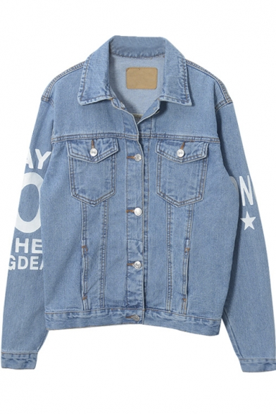 Single Breasted Letter Print Double Pocket Lapel Denim Jacket