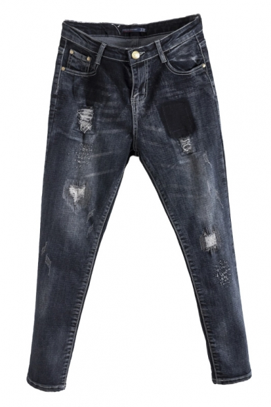 Zipper Fly Black Washed Old Ripped Loose Tapered Harem Jeans