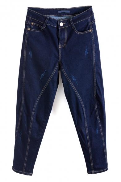 Zipper Fly Dark Washed Blue Loose Cropped Harem Jeans
