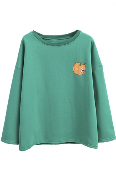 Cartoon Fruit Print Long Sleeve Fleece Round Neck Sweatshirt
