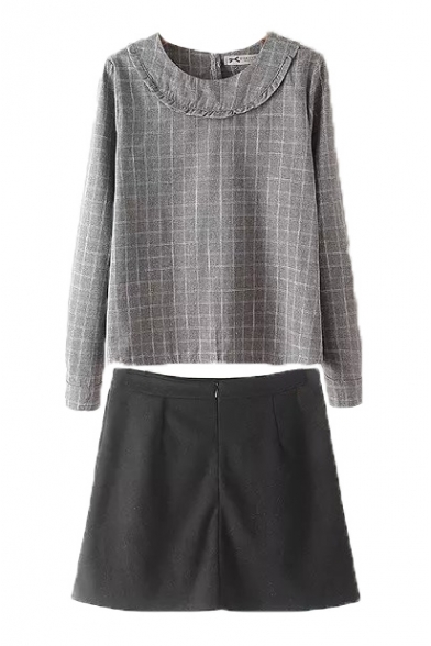 Round Neck Patchwork Plaid Top With A-Line Plain Mini Skirt