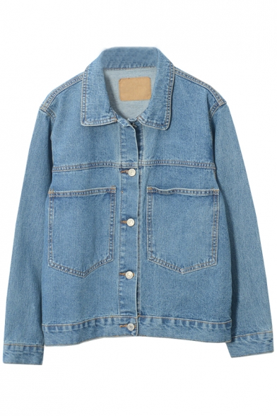 Single Breasted Lapel Blue Double Pockets Plain Denim Jacket
