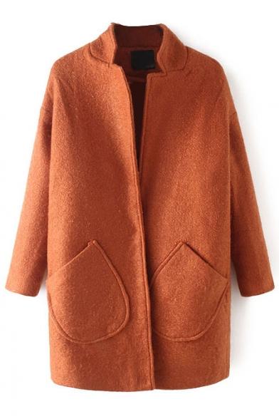 Stand Up Neck Single Button Plain Long Woolen Coat