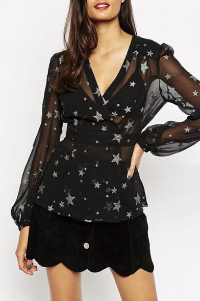 Star Print Balloon Sleeve Belt Waist Sheer Black Blouse