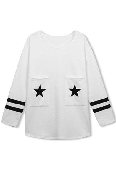 Long Sleeve Tee Stripe Neck Star Round Print Trims 1Wnpwxt6q