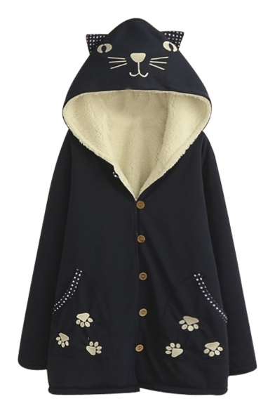 Cute Cat Embroidery Hooded Wool Lining Thicken Coat