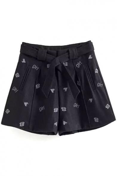 High Waist Cartoon Embroidery Loose Tweed Shorts with Belt