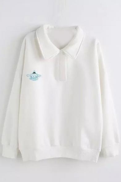 Lapel Button Detail Little Elephant Embroidery Sweatshirt