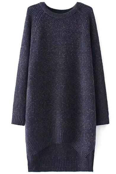 Raglan Sleeve Plain High Low Hem Round Neck Longline Sweatshirt