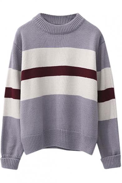 Round Neck Stripe Trims Color Block Long Sleeve Sweater