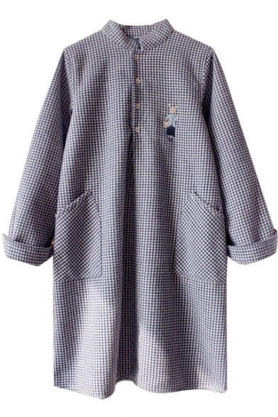 Stand Up Neck Long Sleeve Button Down Plaid Cartoon Embroidery Dress