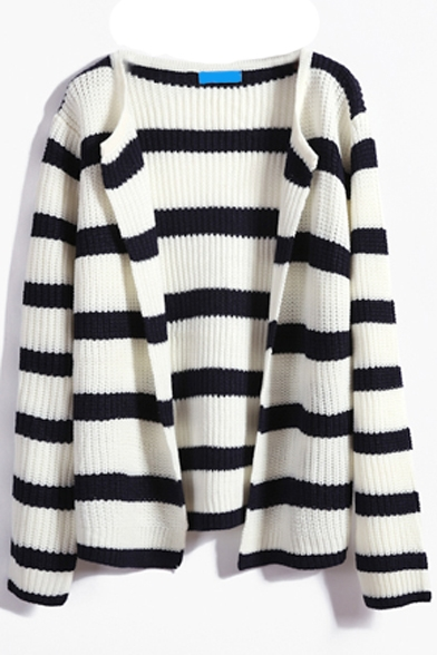 Stripes Color Block Long Sleeve Round Neck Cardigan