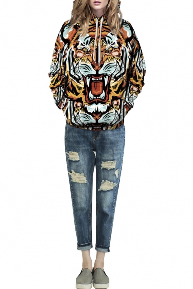 Tiger 3D Print Hooded Long Sleeve Pullover Sweatshirt
