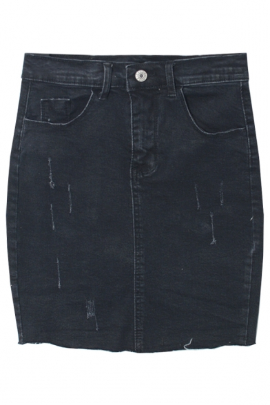 Zipper Fly Bodycon Stretch Ripped Mini Denim Skirt