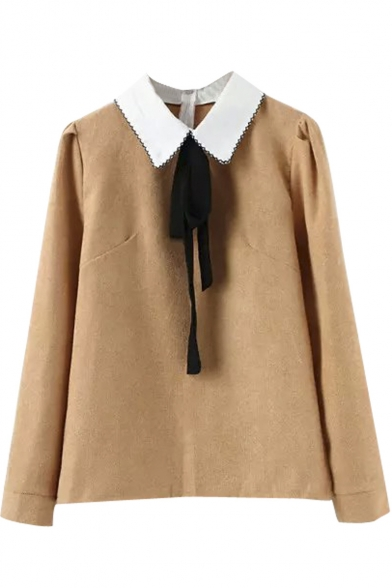 Contrast Collar Bow Tie Front Long Sleeve Blouse
