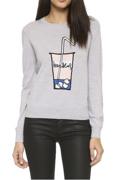 Round Neck Beverage Cup Patterned Sequined Sweatshirt