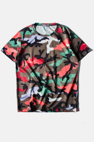 Camouflage Color Neck Tee Round Block Loose 8x4qnxwg