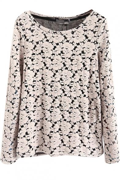 Round Neck Slim Floral Crochet Long Sleeve Sweatshirt
