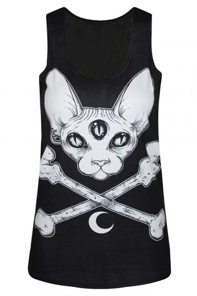Black Horror Cat Print Scoop Neck Sleeveless Tank