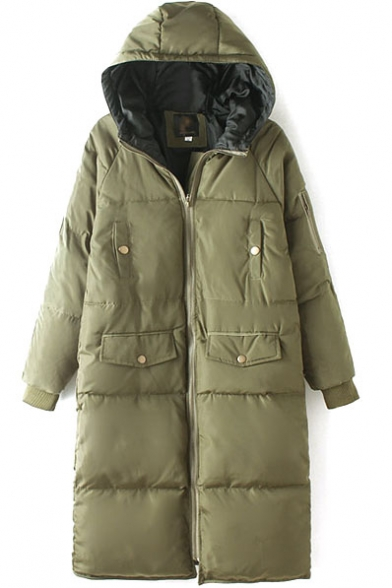 Hooded Zipper Plain Thicken Padded Longline Coat