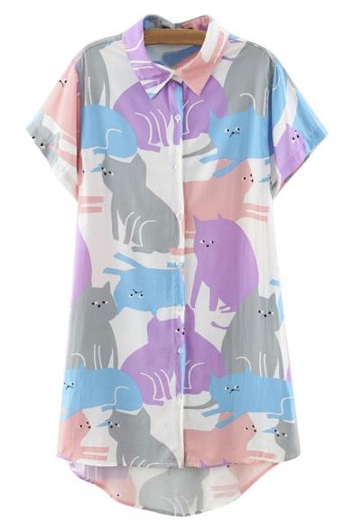 Lapel Color Block Cat Print Short Sleeve Dip Hem Tunic Shirt