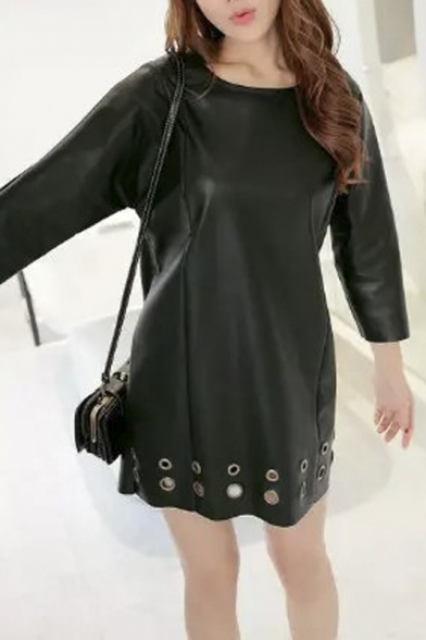 Metallic Holes Detail 3/4 Length Sleeve Shift PU Dress
