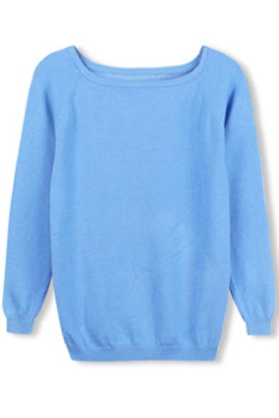 Scoop Neck Long Sleeve Plain Pullover Loose Sweater