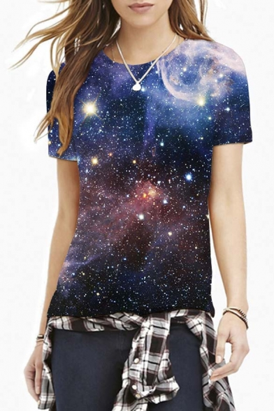 Black Galaxy Print Round Neck Short Sleeve Tee