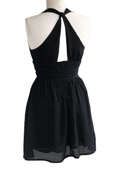b42afbaadae ... V-Neck Sleeveless Plain Black Chiffon A-line Mini Dress ...