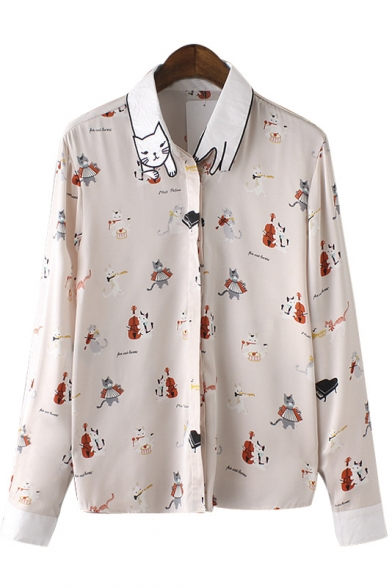 Cat Lapel Repeated Cartoon Print Button Down Shirt