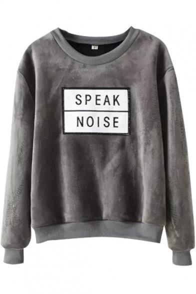 Letter Embroidery Round Neck Long Sleeve Velvet Sweatshirt