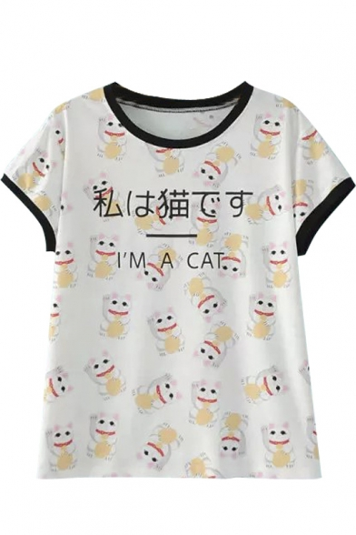 Lucky Cat & Letter Print Short Sleeve Round Neck Tee