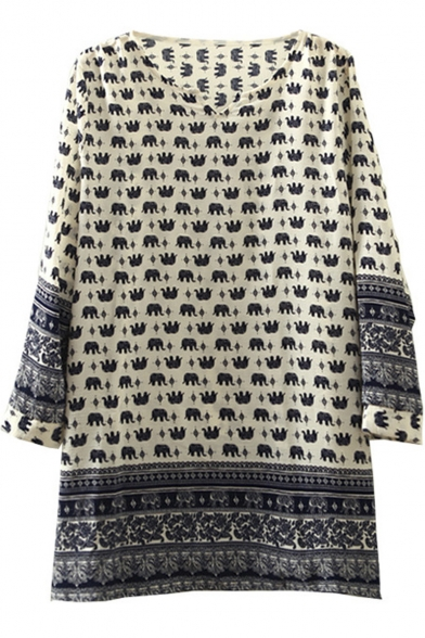 Little Elephant Print Long Sleeve V-Neck Chiffon Tunic Blouse