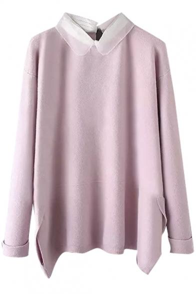 Organza Lapel Patchwork Split Hem Long Sleeve Sweater