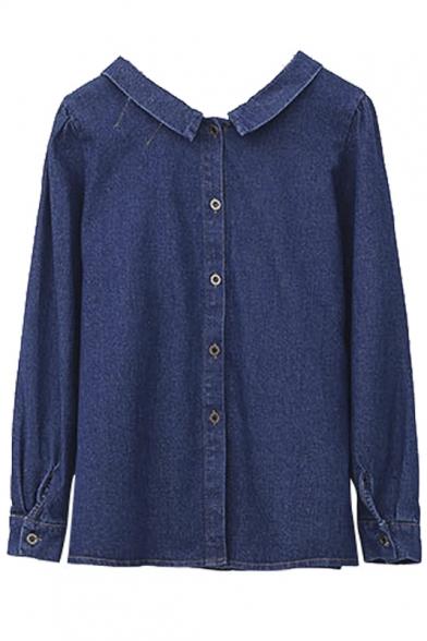 Bow Tie Front Long Sleeve Plain Button Down Back Denim Shirt ...