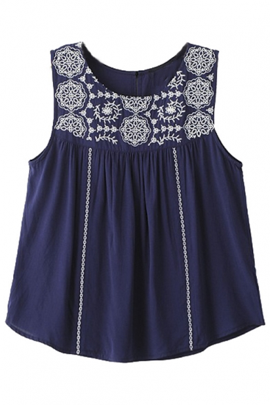 Round Neck Positioning Embroidery Sleeveless Loose Tee
