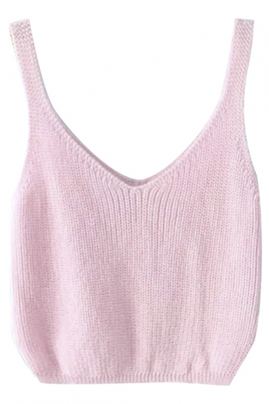 Plain V-Neck Sleeveless Cropped Knit Tank