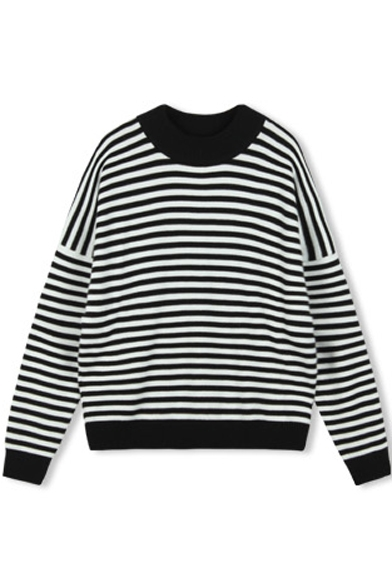 Round Neck Long Sleeve Stripes Loose Pullover Sweater