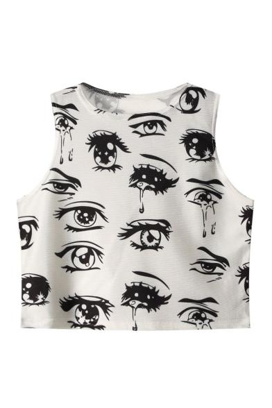 Eyes Print Round Neck Sleeveless Cropped Bodycon Tank