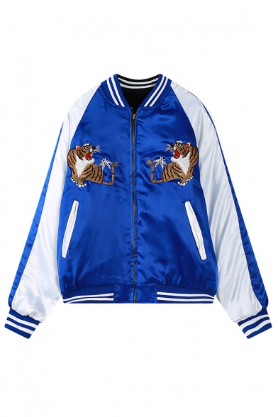 Tiger Embroidery Color Block Stripe Trims Zipper Jacket