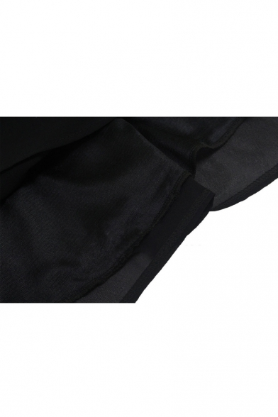 V-Neck Sleeveless Plain Black Chiffon A-line Mini Dress