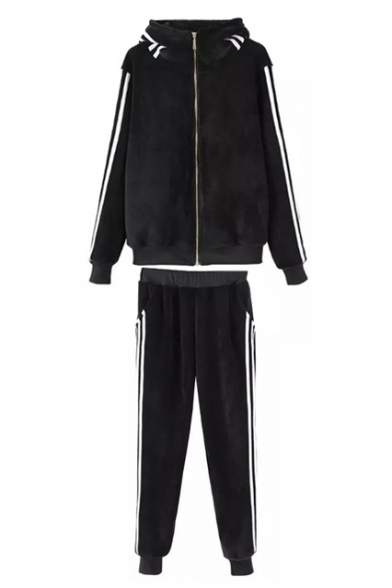 Black Zipper Hooded Stripe Trims Velvet Top with Loose Pants